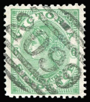 Lot 1215:2099: (A1) on 6d green. [now Rated 5R - a better example than the one which realised $1,252 in Sale #69.]  Allocated to Victoria Street, Richmond-PO 3/12/1906; renamed Richmond North PO 1/11/1924.