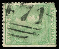 Lot 1151:471: '471' (A2) on 1d Laureate. [Rated 4R]  Allocated to Mount Greenock-PO 11/4/1864; closed 1/1/1895.