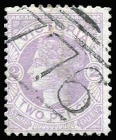 Lot 1167:776: (A2) fine strike on 2d mauve Naish. [Rated 4R].  Allocated to Lake Town-PO 15/3/1872; closed 1/11/1897.