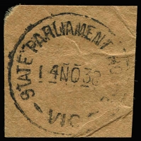 Lot 1230:State Parliament House: 'STATE PARLIAMENT HOUSE/14NO38/VIC' WWW #5, on piece.  TO c.-/5/1903; PO c.1921.