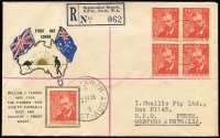 Lot 769 [1 of 2]:Challis 1948 Farrer block of 4 and single on registered illustrated self-address cover