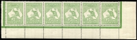 Lot 13:½d Green Plate 1 No Monogram right pane strip of 6, BW #1(1)za, unit 55 variety White scratch left of value circle (#1(1)g), two units MUH, Cat $1,250+ for mounted.