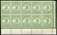 Lot 12:½d Green Plate 1 No Monogram left pane block of 10 (5x2), BW #1(1)z, unit 58 catalogued variety not apparent, hinged in margin only, Cat $1,250++ for mounted.