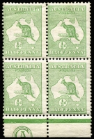 Lot 20:½d Green Plate 2 CA Monogram left pane block of 4, 1(2)zb, odd tiny tone spot, two units MUH, Cat $350+ for mounted.