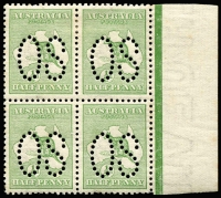 Lot 9:½d Green marginal block of perf large 'OS', BW 