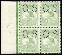 Lot 10:½d Green marginal block of perf small 'OS', BW 