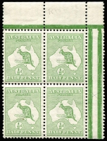 Lot 15:½d Green Plate 2 variety ROSTAGE in corner block of 4, BW #1(2)e, natural paper flaw on unit L11, MUH, Cat $100++.