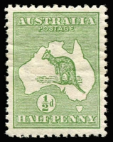 Lot 16 [2 of 2]:½d Green Plate 2 variety ROSTAGE and weakness over 'US' of AUSTRALIA, BW #1(2)ea, plus 2nd stamp variety Two cuts in roo's throat [1L48], MLH, Cat $175. (2)