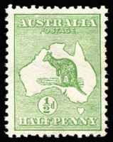 Lot 16 [1 of 2]:½d Green Plate 2 variety ROSTAGE and weakness over 'US' of AUSTRALIA, BW #1(2)ea, plus 2nd stamp variety Two cuts in roo's throat [1L48], MLH, Cat $175. (2)