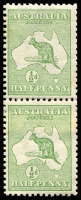 Lot 21 [2 of 2]:½d Green Plate 2 CA Monogram in coil pair with part monogram on join, BW #1(2)zb, minor tones, Cat $350+.