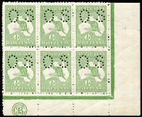Lot 23:½d Green Plate 2 JBC Monogram right pane block of 6 (3x2) perf small 'OS', BW #1bd(2)zc, slight gum discolouration, MUH, Cat $1,200++ for mounted.