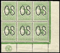 Lot 24:½d Green Plate 2 JBC Monogram right pane block of 6 (3x2) perf large 'OS', BW #1bc(2)zc, hinged in margin only, Cat $1,200++ for mounted.