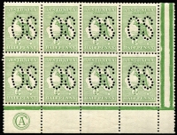 Lot 19:½d Green Plate 2 CA Monogram single in left pane block of 8 (4x2) perf large 'OS', BW #1bc(2)zb, hinged in margin only, Cat $350++ for mounted.