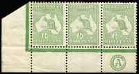 Lot 18:½d Green Plate 2 CA Monogram left pane strip of 3 with variety ia, BW #1(2)za, hinged in margin only, Cat $1,200++ for mounted.
