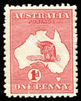 Lot 40 [2 of 2]:1d Red Die IIA Plate G variety Cracked electro - State II [GR26], BW #4(G)la, light machine cancel, Cat $600. Plus mint forgery of State I also with the head and tail of the roo erased. (2)