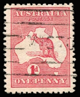 Lot 40 [1 of 2]:1d Red Die IIA Plate G variety Cracked electro - State II [GR26], BW #4(G)la, light machine cancel, Cat $600. Plus mint forgery of State I also with the head and tail of the roo erased. (2)