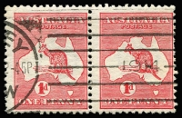 Lot 43 [2 of 3]:1d Red Die IIA varieties, [1] Break in lower left of value circle corner single hinged in margin only; [2] Retouch left of first A of AUSTRALIA and Cut throat in used pair; [3] Large white spot on kangaroo's back used, perf faults, BW #4(K)h,(G)h,i,j, Cat $535+. (3 items)