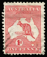 Lot 43 [3 of 3]:1d Red Die IIA varieties, [1] Break in lower left of value circle corner single hinged in margin only; [2] Retouch left of first A of AUSTRALIA and Cut throat in used pair; [3] Large white spot on kangaroo's back used, perf faults, BW #4(K)h,(G)h,i,j, Cat $535+. (3 items)