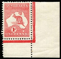 Lot 43 [1 of 3]:1d Red Die IIA varieties, [1] Break in lower left of value circle corner single hinged in margin only; [2] Retouch left of first A of AUSTRALIA and Cut throat in used pair; [3] Large white spot on kangaroo's back used, perf faults, BW #4(K)h,(G)h,i,j, Cat $535+. (3 items)