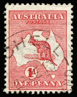 Lot 29:1d Red Die I Plate B Wmk sideways - crown pointing to left when viewed from the back variety Break in left frame opposite A of AUST [BL50], BW #2aa(B)i, Cat $450+. A rare combination of varieties.