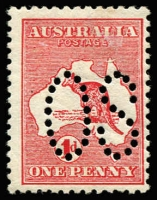 Lot 30 [2 of 2]:1d Red Die I Offset perf large 'OS', BW #2ba,cb, mint, Cat $500.