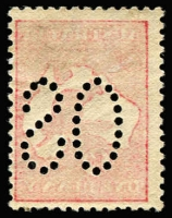 Lot 30 [1 of 2]:1d Red Die I Offset perf large 'OS', BW #2ba,cb, mint, Cat $500.