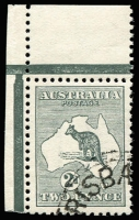 Lot 49:2d Grey corner marginal single with Brisbane CTO cancel, BW #5wd, full unmounted. Only 17 issued and grossly undercatalogued by Brusden White.