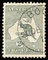 Lot 50 [2 of 2]:2d Grey variety Retouched bottom frame at right and white flaw in Gulf of Carpentaria, plus DE[3]/1[3]