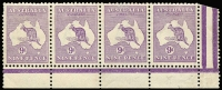 Lot 190:9d Violet Plate 1 White flaw under TA of POSTAGE in marginal strip of 4, BW #25(1)d, fresh mint, Cat $1,050+. Attractive multiple