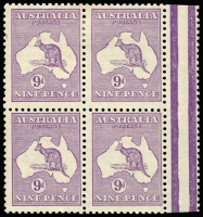 Lot 187:9d Violet block of 4, BW #25A, lower units MUH, Cat $2,400+. Attractive multiple