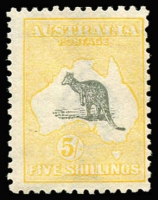 Lot 350:5/- Grey & Pale Yellow variety Long curved tail on Kangaroo - State II ears cropped [R6], BW #44(V)o, MVLH, Cat $1,200. The cropped ears state only occurs late in 3rd wmk printings. Deserves catalogue status.