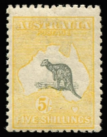 Lot 339:5/- Grey & Pale Yellow variety Kangaroo's ears missing [L44], MVLH, Cat $. An eye-catching example of this rare flaw from the late period 3rd Wmk printings. Deserves catalogue status.
