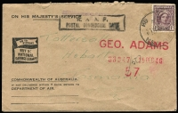 Lot 761 [2 of 4]:Range of Covers many with service logos etc, eg Red Cross (both Australian & American) & Salvation Army, many different types, several from Middle East, noted NSW relief MO from 17DE46. Good lot in generally fine condition. (70)
