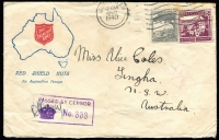 Lot 761 [3 of 4]:Range of Covers many with service logos etc, eg Red Cross (both Australian & American) & Salvation Army, many different types, several from Middle East, noted NSW relief MO from 17DE46. Good lot in generally fine condition. (70)