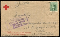 Lot 761 [1 of 4]:Range of Covers many with service logos etc, eg Red Cross (both Australian & American) & Salvation Army, many different types, several from Middle East, noted NSW relief MO from 17DE46. Good lot in generally fine condition. (70)