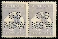 Lot 50:6d Ultramarine Die II perf 'OS/NSW' pair, couple of broken pins in perfin, MLH.