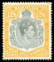 Lot 969:1938-53 Keyplates 12/6d grey & yellow P14 on ordinary paper SG #120d, fine MVLH, Cat £700. Ceremuga certificate (2019). A rare stamp.