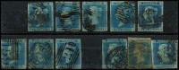 Lot 1586:1841-52 Imperf 2d Blue group of 11, SG #13-15, a few poor ones, otherwise good average examples, all numeral cancels. (11)