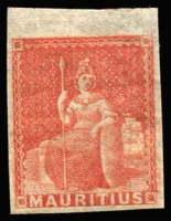 Lot 1743 [1 of 2]:1858-62 No Value Expressed (6d) vermilion 4 margins (one large), SG #28, mint, Cat £65. Plus reprint/forgery in indigo. (2)