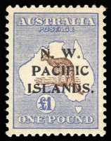 Lot 922:1915-16 Kangaroos 3rd Wmk £1 chocolate and dull blue (b), SG #99, aged MLH, Cat £430.