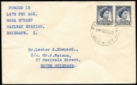 Lot 1220:Roma Street R.S.: ROMA ST. RAIL/LF/645P20AU63/QLD·AUST' on 5d x2 on philatelic cover. [TO only]