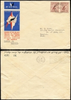 Lot 874 [2 of 2]:1938 Brisbane-England registered cover from Brisbane on first Flying Boat mail to England, AAMC #822b. Plus 1934 Darwin - Bangkok cover with pair of 6d Large Kooka on special England-Australia cover, AAMC #470j. Total Cat $350. (2)