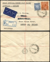 Lot 874 [1 of 2]:1938 Brisbane-England registered cover from Brisbane on first Flying Boat mail to England, AAMC #822b. Plus 1934 Darwin - Bangkok cover with pair of 6d Large Kooka on special England-Australia cover, AAMC #470j. Total Cat $350. (2)