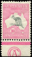 Lot 106:10/- Grey & Pink CA Monogram single, BW #47z, hinge rem, Cat $75,000. Only three singles recorded.
