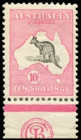 Lot 108:10/- Grey & Pink JBC Monogram single, BW #47za, perfs re-inforced, fresh mint, Cat $75,000. Only five mint singles recorded in private hands.