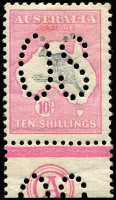 Lot 107:10/- Grey & Pink CA Monogram single perf large 'OS', BW #47b,z, fresh mint, Cat $75,000. The only recorded example.