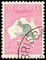Lot 104 [1 of 2]:10/- Grey & Pink with Brisbane CTO cancel, BW #47wc, lightly hinged full gum, Cat $2,500. Only 42 issued.