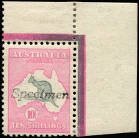 Lot 105:10/- Grey & Pink top right corner single [R6] with 'Specimen' handstamp, BW #47x, lightly hinged full gum, Cat $750.