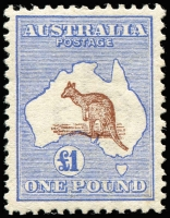 Lot 109:£1 Brown & Blue variety Misplaced Kangaroo 1mm downwards into Bight, fresh mint, Cat $4,500 (as normal).