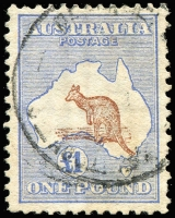 Lot 110:£1 Brown & Blue variety Misplaced Kangaroo 1½mm downwards into Bight, used, Cat $3,500 (as normal).